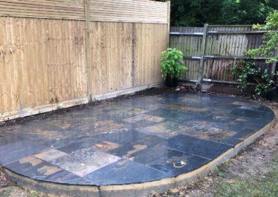 Oval slate patio Ottershaw