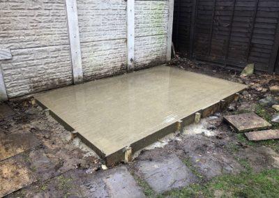 Concrete shed base woking
